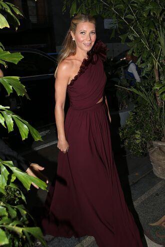 dress one shoulder gown prom dress prom gown burgundy burgundy dress gwyneth paltrow
