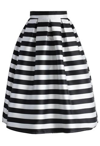 skirt chicwish stripes full a-line midi skirt midi skirt a-line skirt stripes skirt chicwish.com