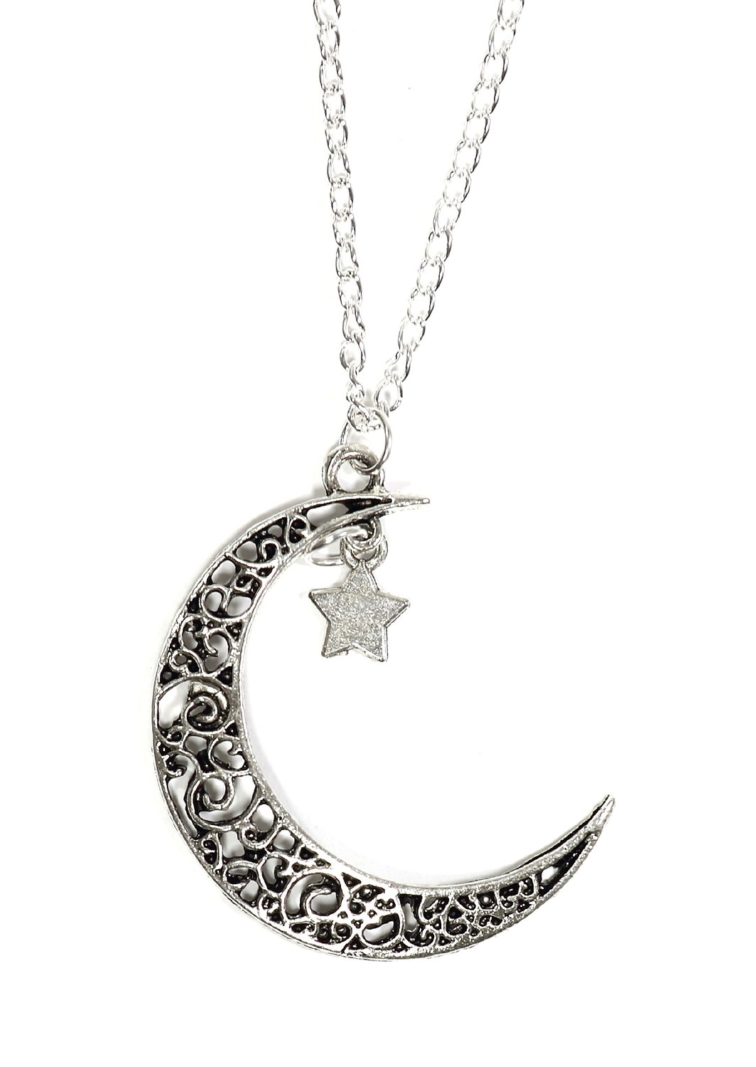 Com crescent moon star necklace vintage silver tone lunar amazon crescent moon star necklace vintage silver tone lunar filigree pendant np16 fashion jewelry jewelry mozeypictures Gallery