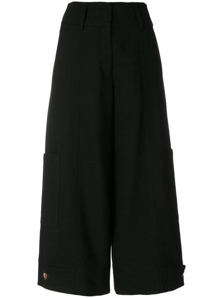 See by Chloe cropped women spandex cotton black wool pants