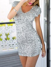 dress,silver dress,sequins,sequin dress,girly,new year's eve,glitter,glamour,luxe,chic,shiny
