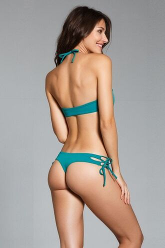 swimwear ayra swimwear bikini bottoms cheeky green side ties bikiniluxe