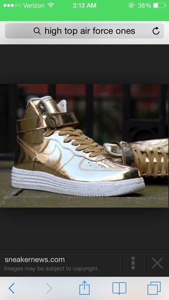 shoes gold nike high top sneakers