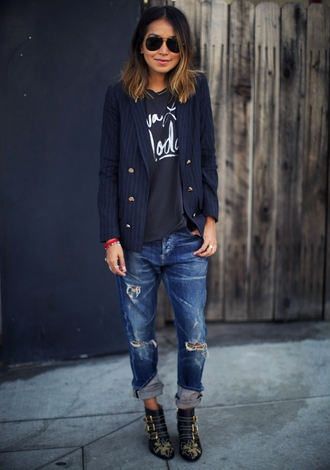 sincerely jules blogger blazer studded shoes ankle boots black t-shirt ripped jeans printed boots printed ankle boots black boots boots mid heel boots sunglasses aviator sunglasses stripes striped blazer t-shirt blue jeans printed blazer