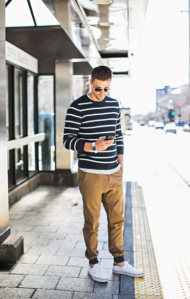 hello his blogger striped sweater mens sweater mens pants menswear casual mens cable knit jumper