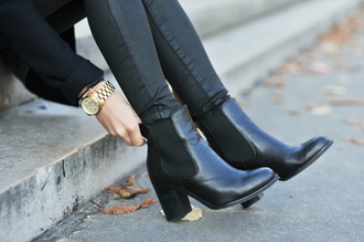 shoes watch black legs street ankle boots chelsea boots