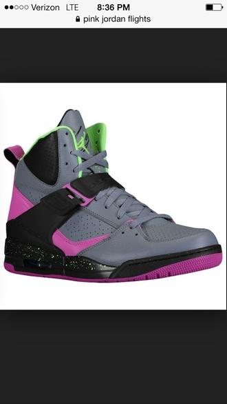 shoes jordans grey purple green black flight cute