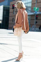 sweater,tumblr,camel,camel sweater,pants,white pants,skinny pants,sandals,sandal heels,high heel sandals,nude sandals,bag,nude bag,bucket bag