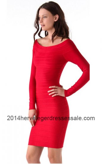 2014 Cheap Red Herve Leger Long Sleeves Bandage Dresses Online [Red HL Long-Sleeve Dresses] - $166.00 : 2014 Herve Leger | Cheap Herve Leger