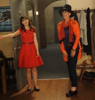 dress jamie lee curtis dress like new girl zooey deschanel jess day jessica day orange dress belted dress ballet flats black flats flats top pants black pants cardigan orange cardigan hat black hat new girl