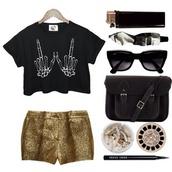shirt,skeleton,pants,sparkle,sparkling pants,gold,golden sparkling pants,lighter,sigarets,sunglasses,bag,black,black bag,middle finger,shorts