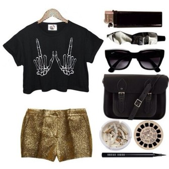 bag black shirt middle finger gold shorts skeleton pants sparkle sparkling pants golden sparkling pants lighter sigarets sunglasses black bag the middle