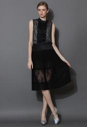 skirt,pleated,chiffon,lace,midi skirt