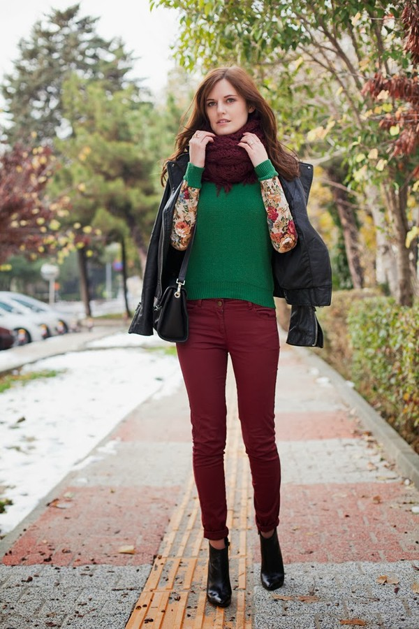 the bow-tie sweater jeans jacket scarf bag shoes