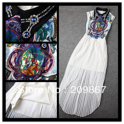 2014 spring summer women's dresses satin silk dress fashion print rhinestone beaded collar pleated vintage irregular brand dress-inDresses from Apparel & Accessories on Aliexpress.com