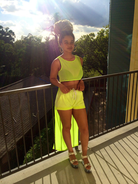 romper crystal westbrooks fluorescent green romper shorts summer outfits summer transparent top top long top sheer top lime