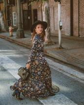 dress,maxi dress,floral dress,printed dress,long sleeve dress,ankle boots,handbag,belted dress,hat