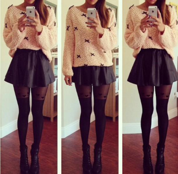 Tights Black Skirt Bow Sweater Heart Peach Thights Cardigan