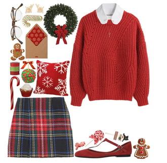 sweater cute christmas sweater red christmas rib knit sweater rib knit