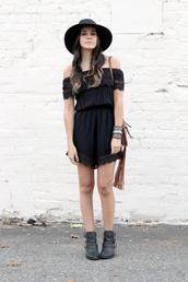 dress like jess,blogger,bag,jewels,romper,black,off the shoulder,boho,ankle boots,fringed bag,cuff bracelet,fall outfits,hat