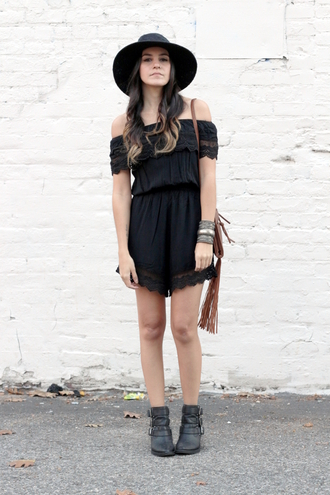 dress like jess blogger bag jewels romper black off the shoulder boho ankle boots fringed bag cuff bracelet fall outfits hat