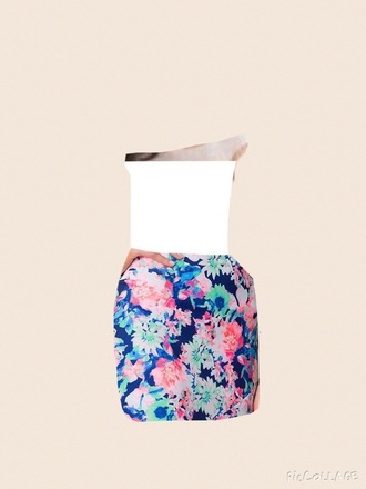 dress floral white tulle skirt navy teal pink