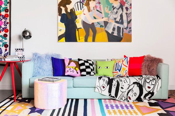 home accessory sofa home decor home furniture sofa throw pillow rug colorful pop art