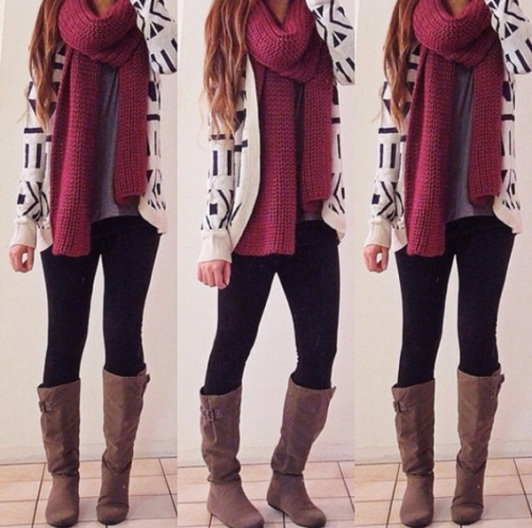 sweater shoes boots jeans shirt scarf cardigan