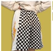 shorts,checkered,black,black and white,fire