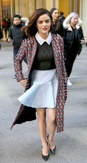 dress,pumps,coat,fall outfits,lucy hale