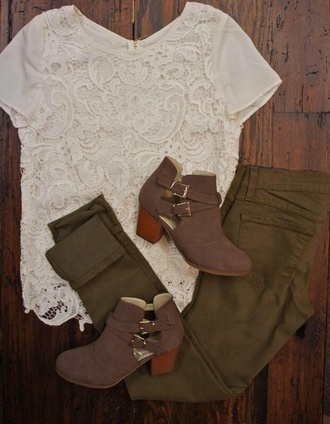 shoes fashion style boots t-shirt booties straps buckles girly tumblr outfit jeans army green fall winter outfits