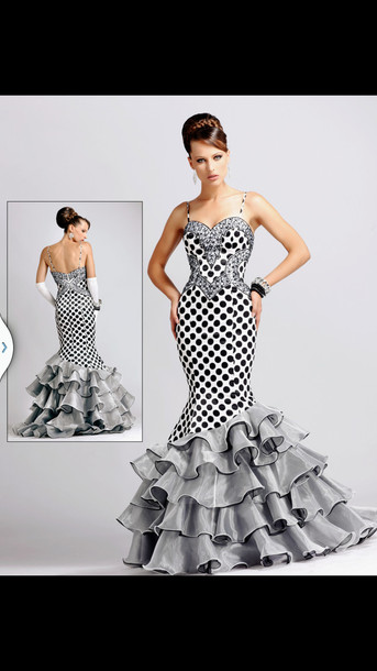 dress, polka dots, black and white, prom dress, bling, ruffle ...