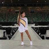 shirt,white,yellow,ariana grande,reebok sweat