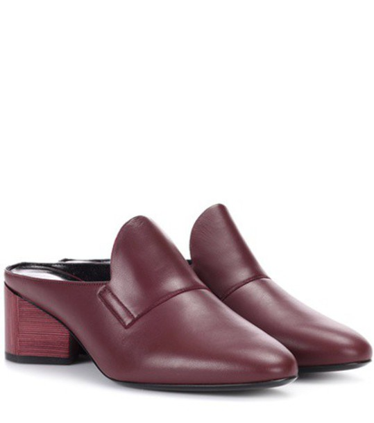 Pierre Hardy Leather mules in red