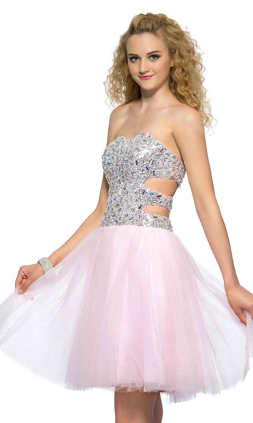 Cut Out Sweetheart Glitter Short Pink Prom Dresses UK KSP394 [KSP394 ...