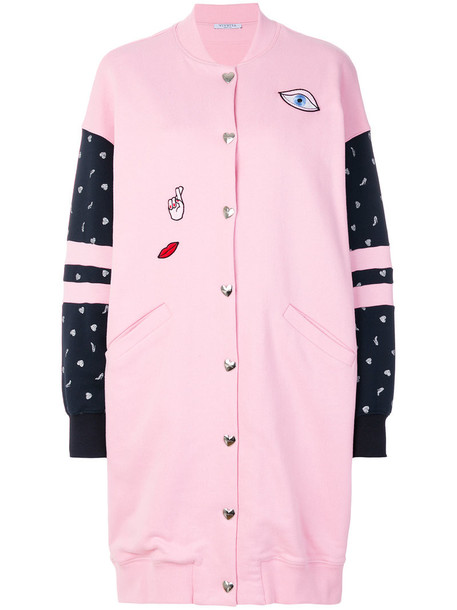VIVETTA coat long embroidered women cotton purple pink