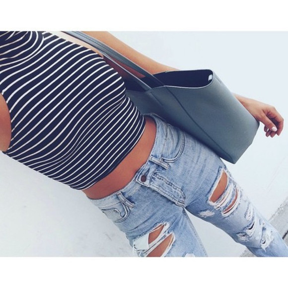 jeans bag crop tops style white dress mariniere blue dress jeans troué grey bleu marine top ripped jeans high waisted jeans high waisted ripped jeans ripped stripes navy t-shirt