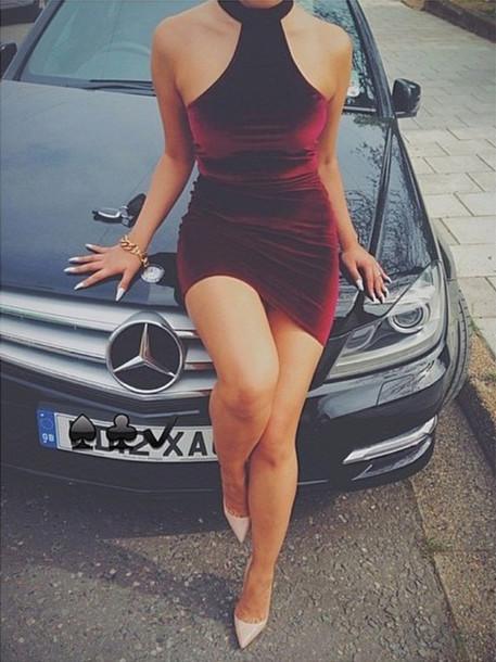 velvet dress halter dress halter neck dress burgundy velvet burgundy dress burgundy dress velvet