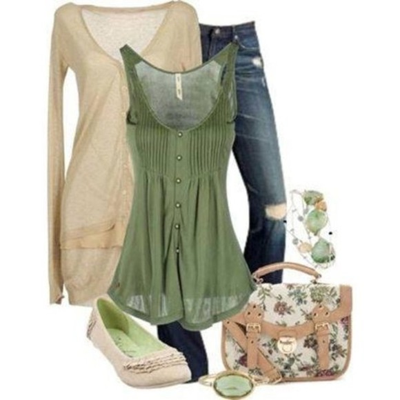 green cute floral bag tank top top green top green tunic floral bag floral handbag cute dress cute top cute t shirt green tank top tunic dress tunic