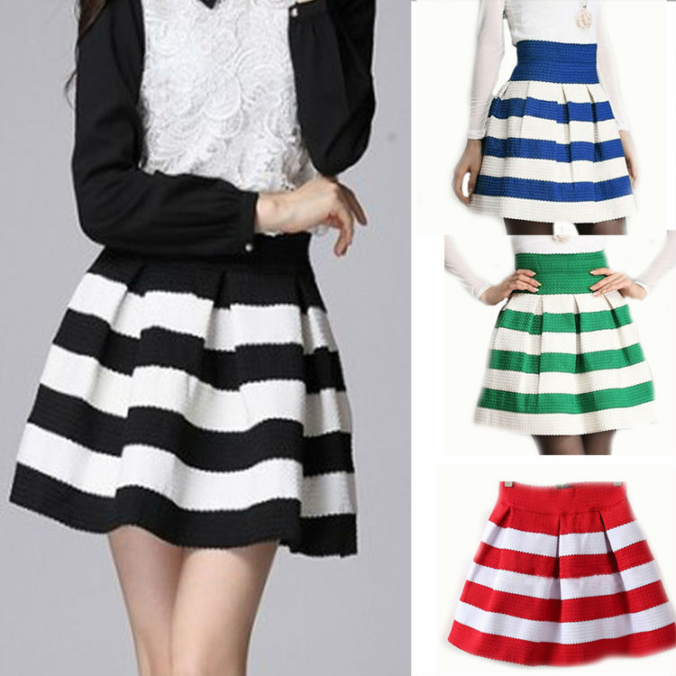 New Spring Fashion Wild Womens GirlsRetro Flared Hit Color Stitching Striped Mini Skirt  Short Skirt 4 Colors J7019-in Skirts from Apparel & Accessories on Aliexpress.com