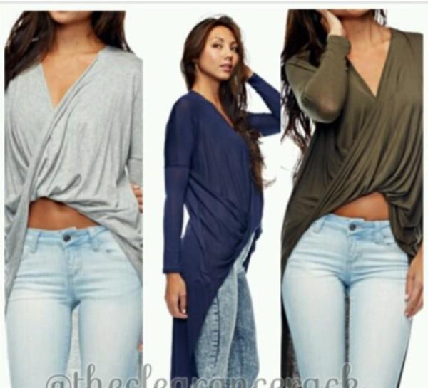 blouse twisttop long sleeves fronttwist long