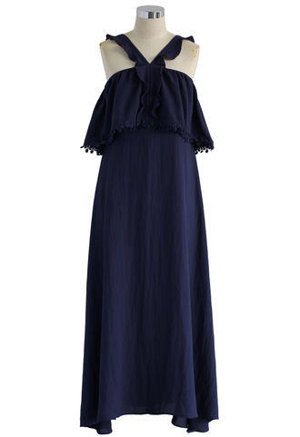 dress maxi dress prom dress navy frilly