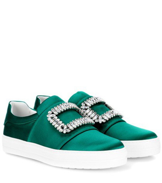 embellished sneakers satin green shoes