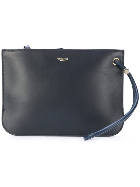 NINA RICCI women clutch leather blue bag