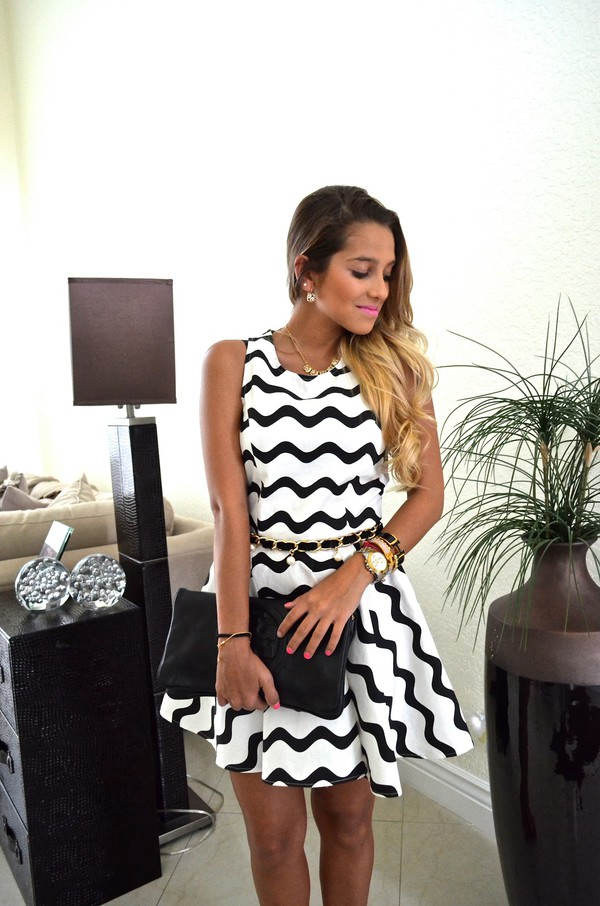 graphic wave dress black and white dress skater dress summer dress