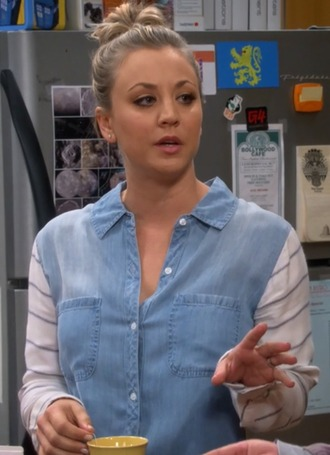 shirt penny denim contrast-paneled big bang theory kaley cuoco