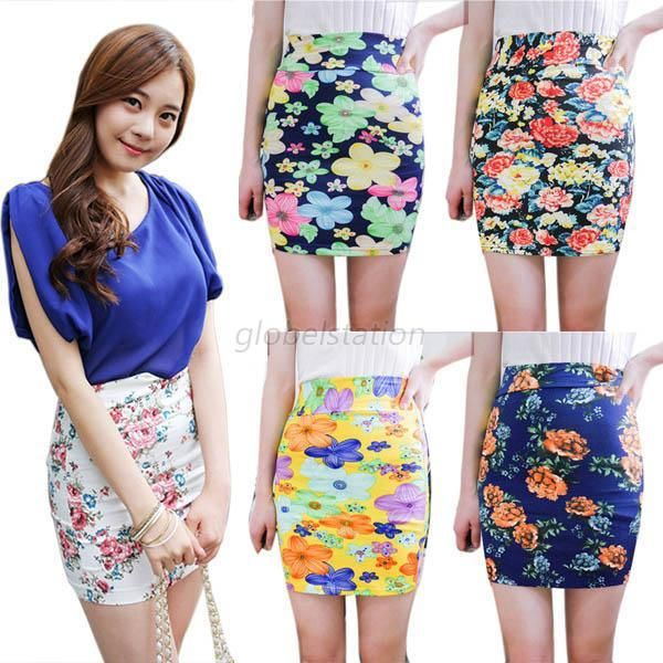 High Waist A-Line Skirts Flower Floral Print Short Mini Dress ...