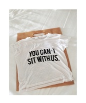 t-shirt,mean girls,white tee,blouse,top,white,shirt,quote on it,graphic tee,crop,white crop tops