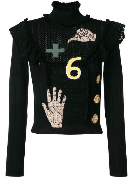 Valentino - lace patch knitted top - women - Cotton/Polyamide/Virgin Wool - XS, Black, Cotton/Polyamide/Virgin Wool