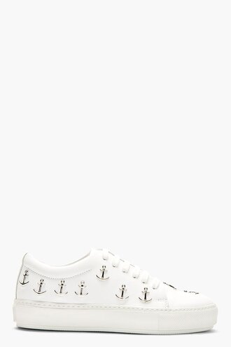 white stud shoes leather adriana anchor sneakers women